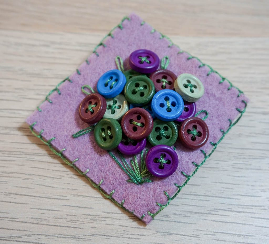 Button Bouquet Brooch