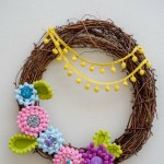 Pom Pom Trim Flower Wreath