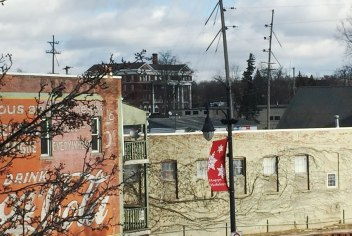 A closer view, behind the Coca Cola mural shows the Parker Inn that will have its own improvements coming up
