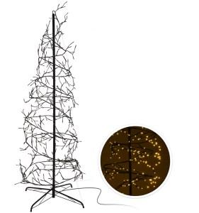 KERSTBOOM SPIRAAL ZWART H:180CM Æ:80CM - 432 LED LAMPJES WARM WIT MET 8 FUNCTIES