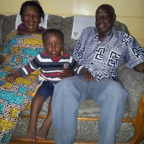 Yaro, auntie Mary and their 2 year-old grandson.
