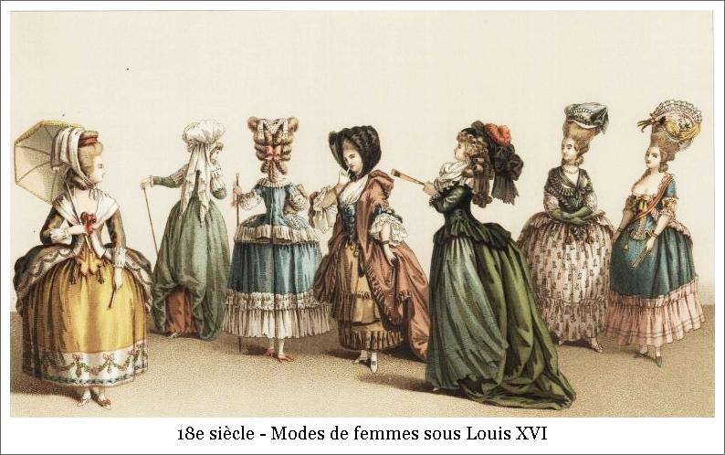 18e siècle – Modes de femmes sous Louis XVI