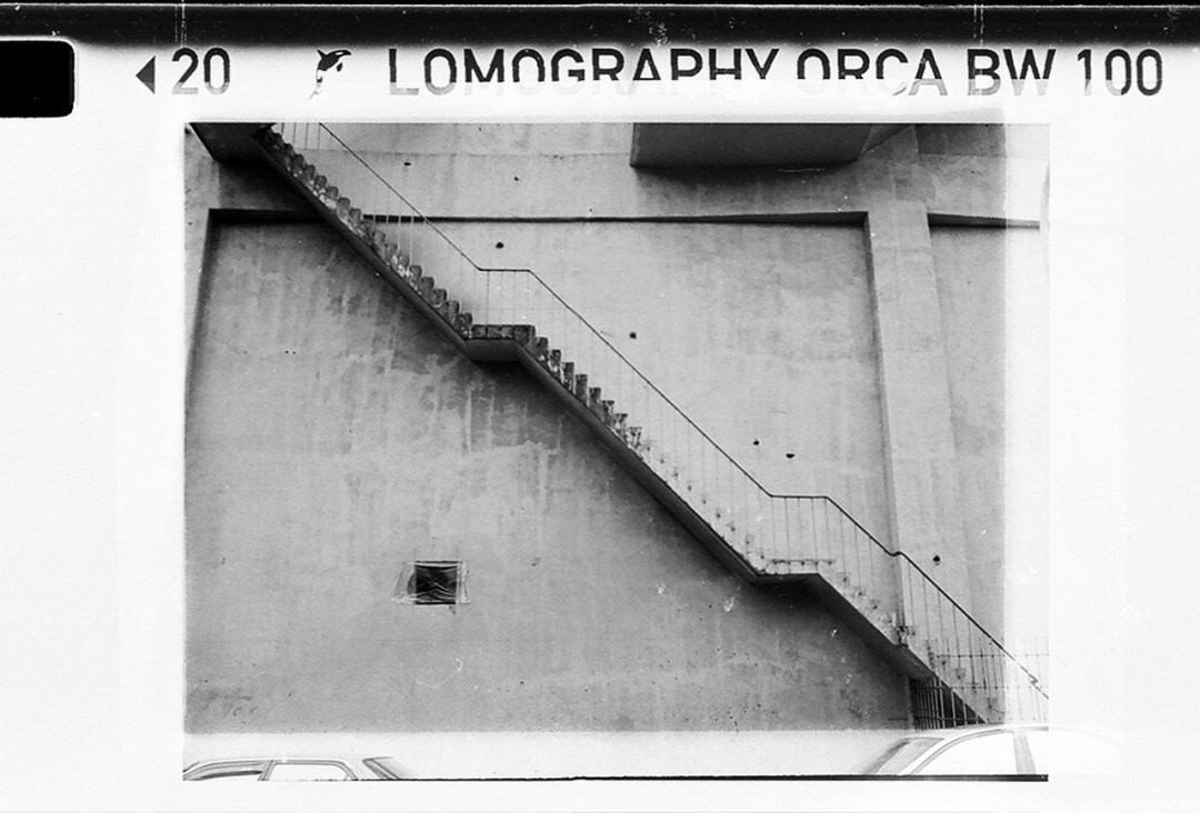 Steppppps - Lomography Orca 110 shot at ISO80.<br>Black and white film in 110 format.