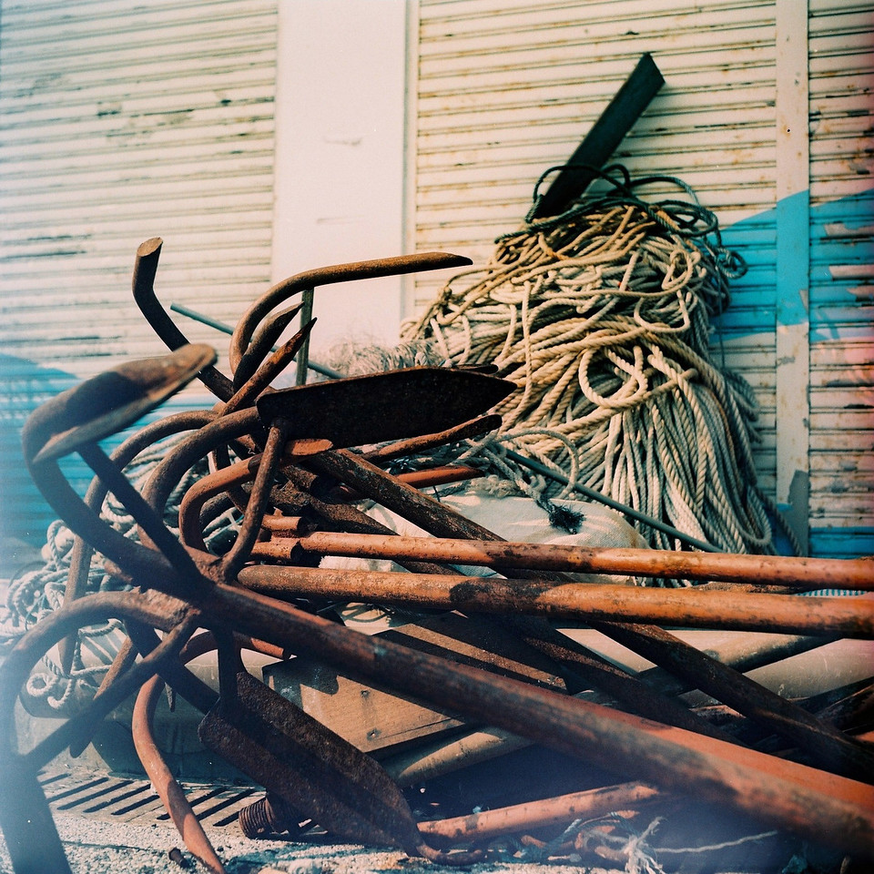 2015-07-25 - Anchored - Fuji Provia 100F (RDPIII) shot at EI 100. Color slide film in 120 format shot as 6x6. Expired and cross-processed.
