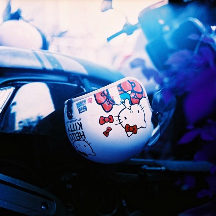 Helmet kitty - Shot on Lomography Lomochrome Purple XR100-400 at EI 400. Color negative film shot in 120 format as 6x6