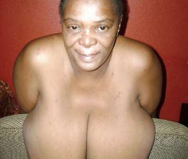Dark Hued Granny Display Her Gigantic Tits
