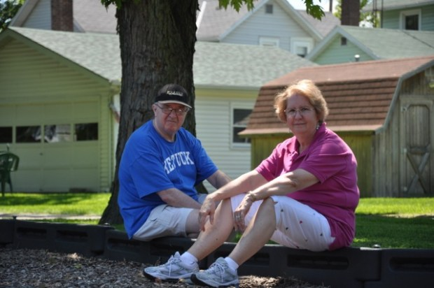 Granny and Grandpops taking a breather in the shade.