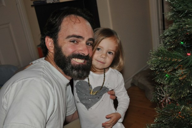 Decorating the tree with Daddy.