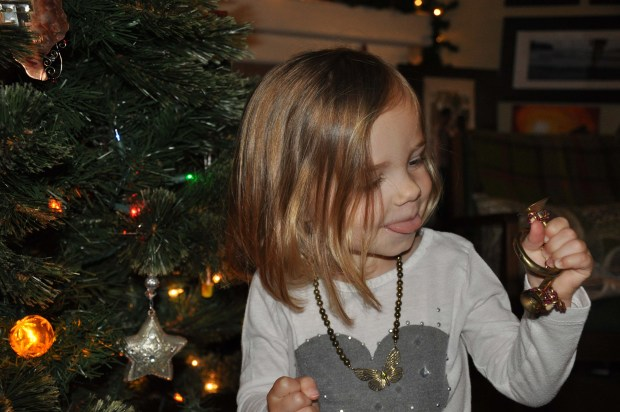She loved to blow into the horn! This lasted for days and it was her favorite ornament by a long shot.