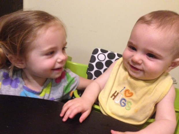 Happy Brother and Sister. Today she said she was happy she had a brother!!