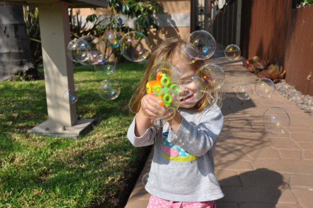 Watch out for the girl with the bubble gun!