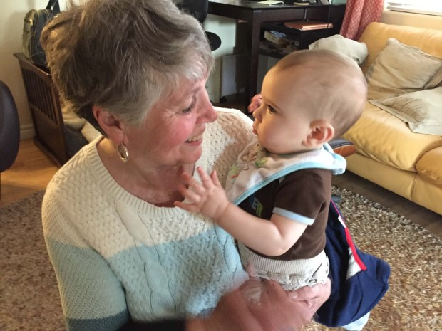 Grandson meeting Nana, for the first time.