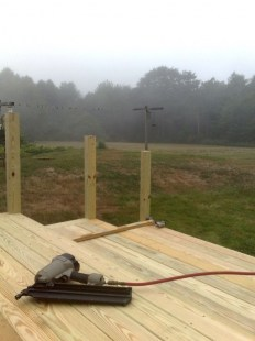 Nailing the decking down on a foggy day