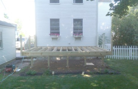 Deck in South Portland - framing in progress