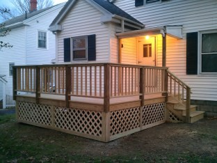 Small pressure treated deck in South Portland