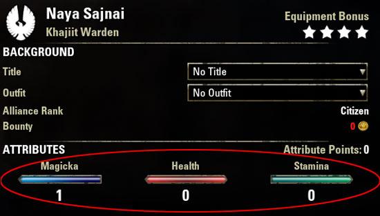 Magicka Warden Attributes