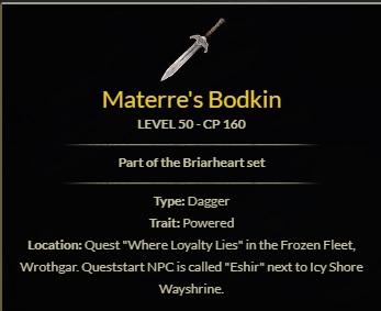 Materre's Bodkin Briarheart