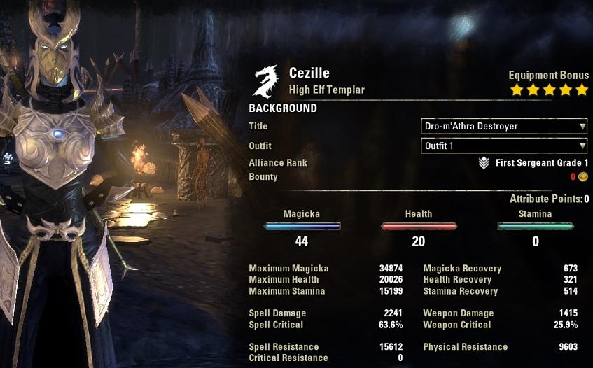 Solo Magicka Templar Build unbuffed
