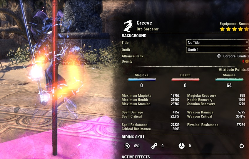Stamina Sorcerer pvp build creeve buffed stats