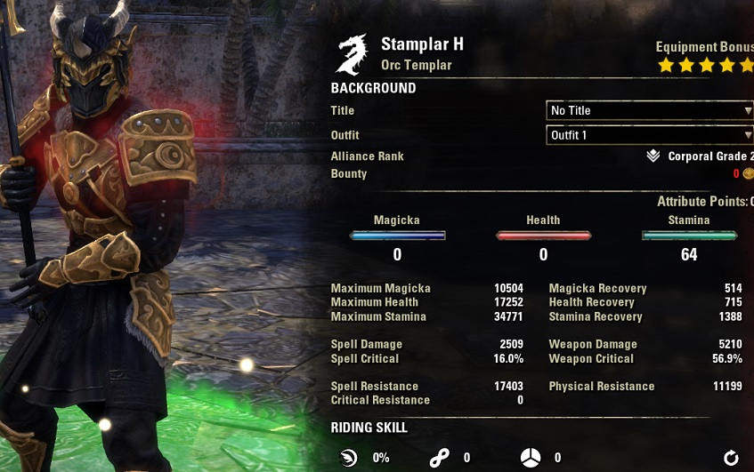 Stamina Templar Build 2H buffed stats
