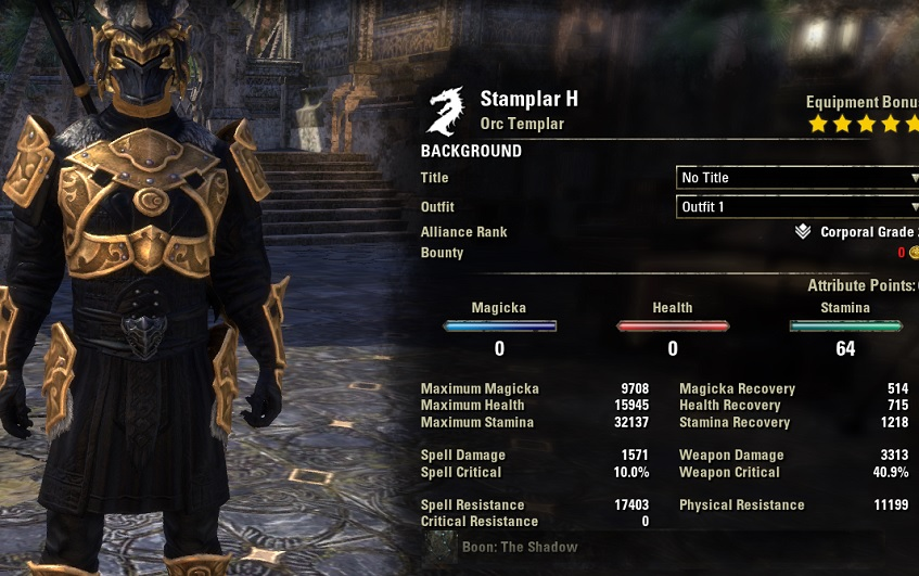 Stamina Templar Build 2H unbuffed stats