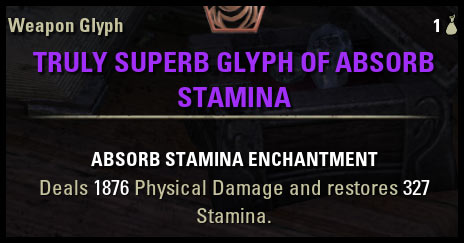 Absorb Stamina Glyph CP 160