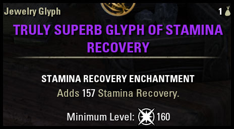 Stamina Recovery Glyph CP 160