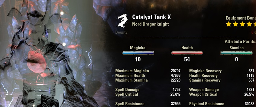 Dragonknight Tank Build stats buffed ESO