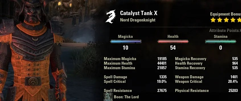 Dragonknight Tank Build stats unbuffed ESO