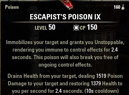 Escapists Poisons ESO Immobilize & drain