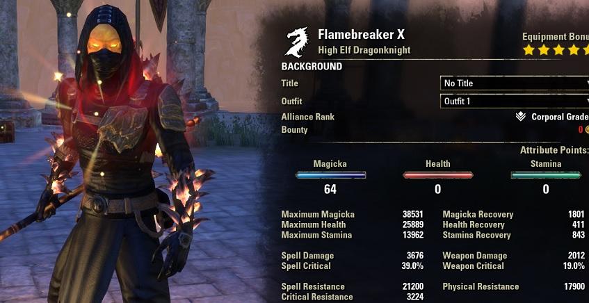 Magicka Dragonknight build PVP stats buffed
