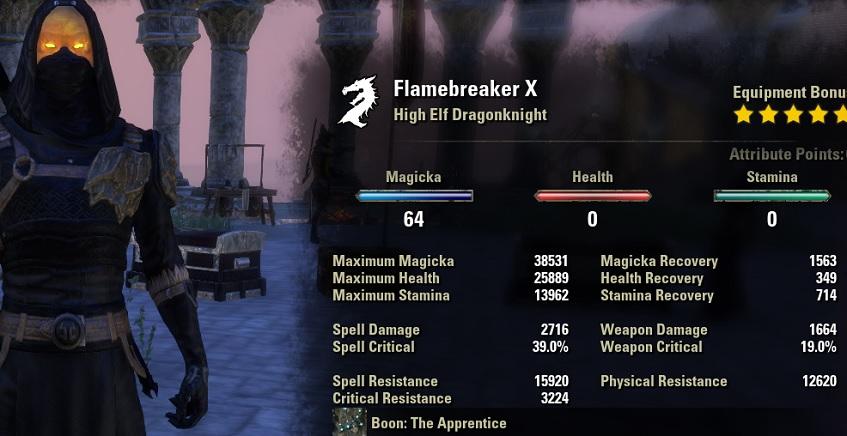 Magicka Dragonknight build PVP stats unbuffed