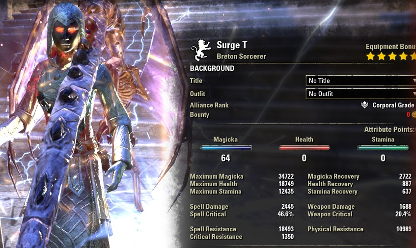 Magicka Sorcerer HEALER Build buffed stats ESO