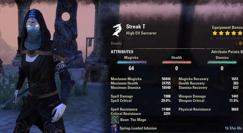 Magicka Sorcerer pvp build stats unbuffed ESO