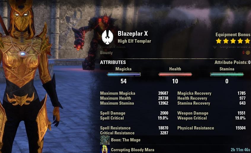 Magicka Templar Build PvP unbuffed stats ESO