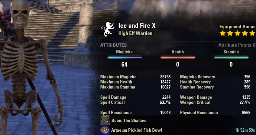 Magicka Warden pve dps build META unbuffed stats ESO