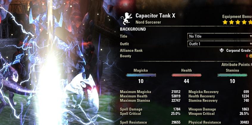 Sorcerer Tank Build PvE buffed stats