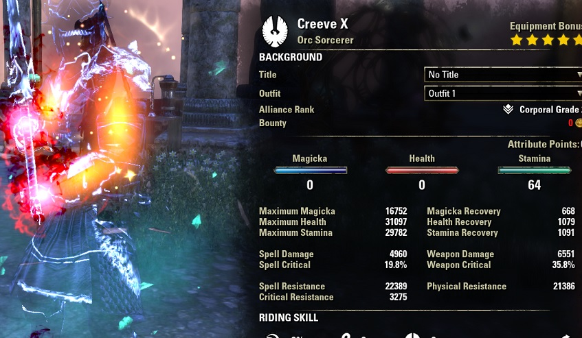 Stamina Sorcerer PVP Build buffed stats ESO