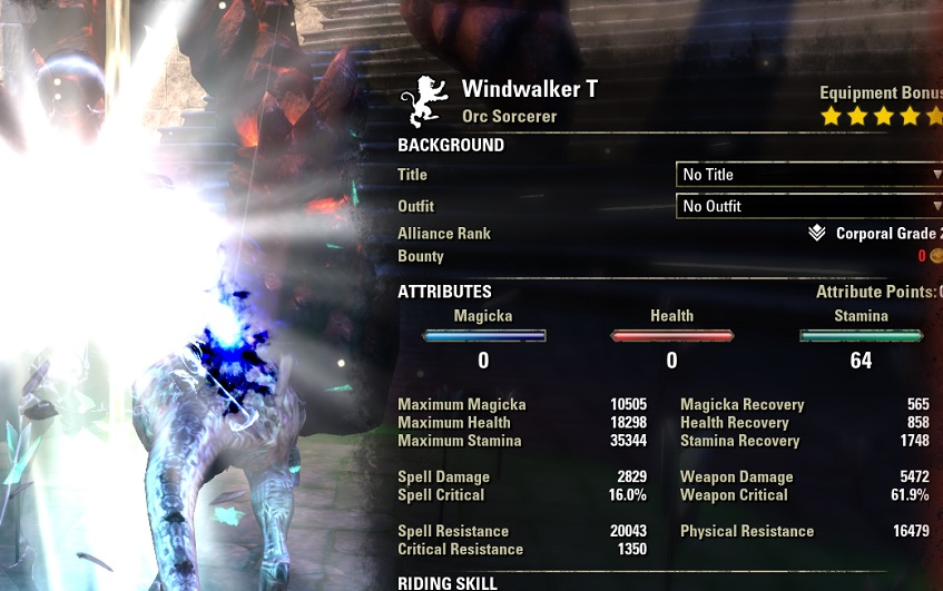 Stamina Sorcerer pve build META buffed stats ESO
