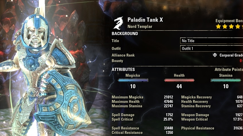 Templar Tank Build PvE buffed Stats ESO