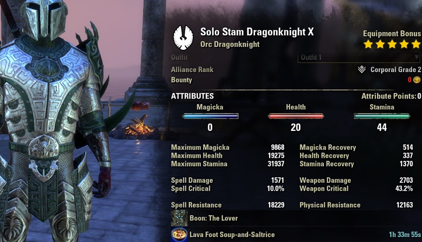 Solo Stamina Dragonknight Build PvE unbuffed stats ESO