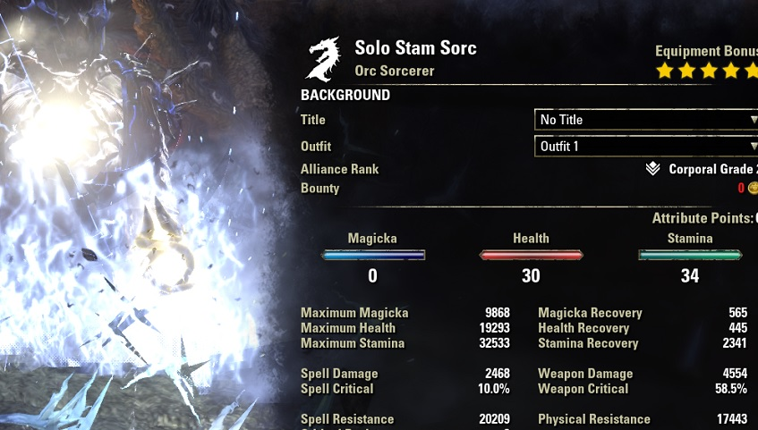 Solo Stamina Sorcerer Build PvE buffed stats