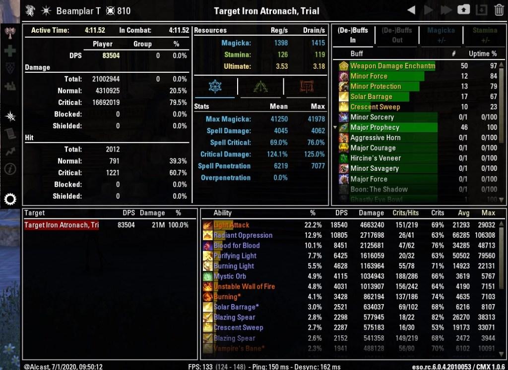 Magicka Templar 83504 DPS Test