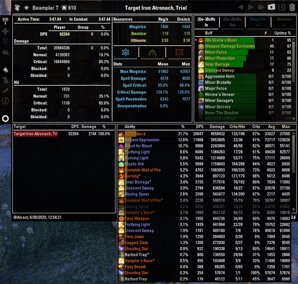 Magicka Templar 92264 DPS Test