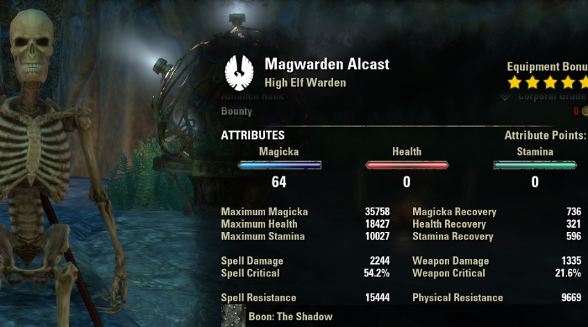Magicka Warden DPS PvE Build unbuffed stats ESO