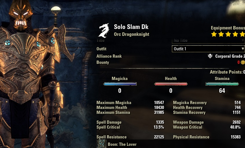 Solo Slam Dragonknight unbuffed stats ESO