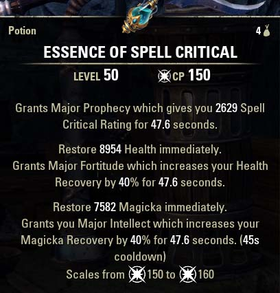 Essence of Spell Critical Potion new ESO