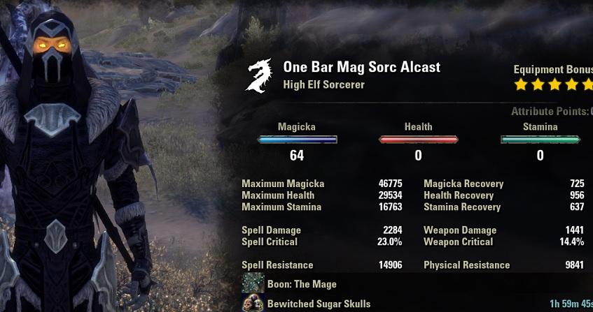One Bar Sorcerer Build Unbuffed Stats ESO