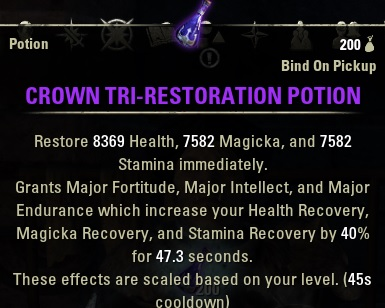 Tri-Stat Crown Potions ESO