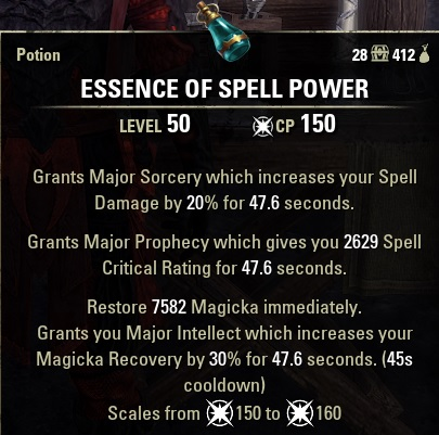 Essence of Spell Power Potion ESO